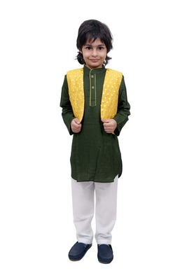 Green Plain Cotton Knitted Boys Kurta Pyjama