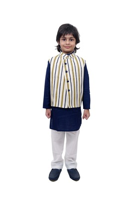 Blue plain cotton knitted boys-kurta-pyjama