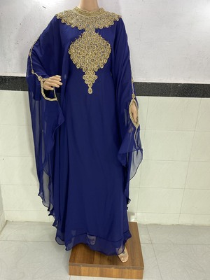 navy blue georgette ramadan with zari and stone work kaftan