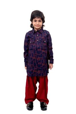 Blue Plain Cotton Knitted Boys Kurta Pyjama