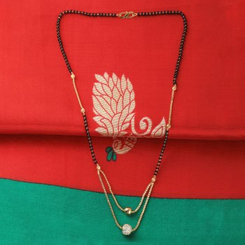 Daily Wear Gold Plated White Diamond Mangalsutra For Women