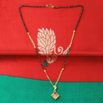 Gold Plated Designer Square Pandent Mangalsutra For Women