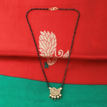 Gold Plated Party Wear Designer Pandent Mangalsutra For Women
