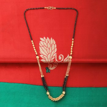 Gold Plated Three Chain Designer Mangalsutra For Women