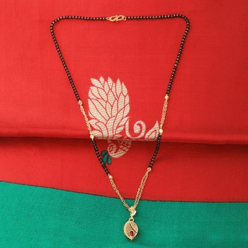 Exclusive Gold Plated Leave Shape Pandent Mangalsutra For Women