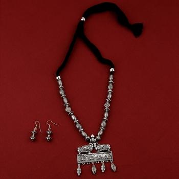 Silver Oxidised Designer Adjustable Peacock Pendant Stylish Mala for women girl