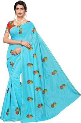 Sky Blue Silk Saree with Blouse