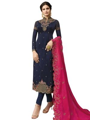 Navy blue embroidered satin salwar