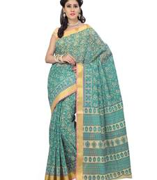 Buy Green printed cotton saree with blouse below-500 online