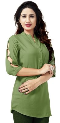 Light green plain viscose rayon tops