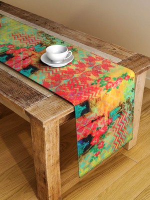 Houzzcode Abstract Yellow Printed Table Runner 38cm x 182cm