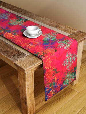 Houzzcode Red Printed Abstract Table Runner 38cm x 182cm