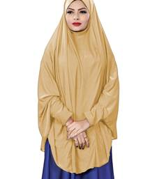 Beige Color Stitched Jersey Cotton Islamic Chaderi Hijab With Veil And Sleeves