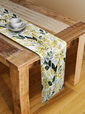 Houzzcode Yellow Leaf Floral Table Runner 30cm x 180cm