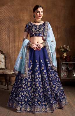 Navy-blue dori, badla and sequins embroidered raw silk semi-stitched lehenga with dupatta