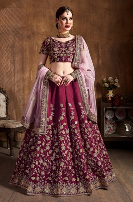Maroon DORI, BADLA AND SEQUINS EMBROIDERED RAW SILK SEMI-STITCHED LEHENGA WITH DUPATTA