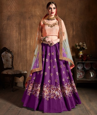 Purple Embroidered Art Silk Unstitched Lehenga With Dupatta