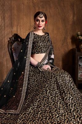Black zari and heavy sequins embroidered art silk semi stitched lehenga choli with dupatta