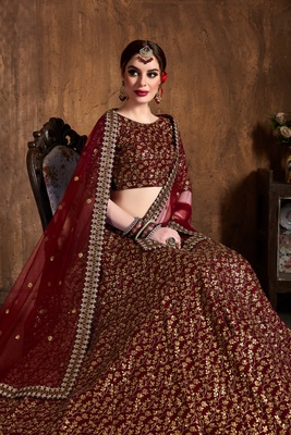 Maroon ZARI AND HEAVY SEQUINS EMBROIDERED art silk semi stitched lehenga choli with dupatta