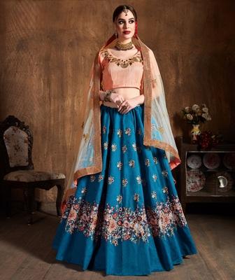light blue embroidered art silk unstitched lehenga with dupatta