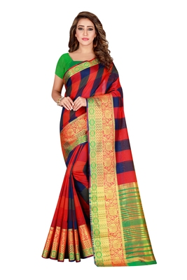 Kimisha MultiColor Pure Cotton Woven Saree With Running Blouse