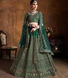 Green Zari And Glitter Sequins Embroidered Art Silk Semi Stitched Lehenga Choli With Dupatta