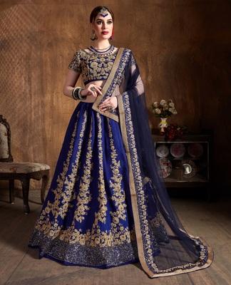 Navy-blue dori and sequins embroidered art silk semi stitched lehenga choli with dupatta