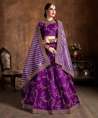 Purple zari, dori, thread and sequins embroidered art silk semi stitched lehenga choli with dupatta