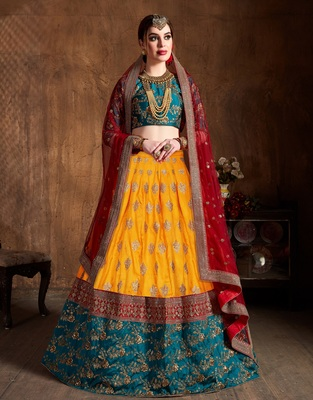 Yellow zari, dori and sequins embroidered art silk semi stitched lehenga choli with dupatta