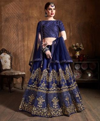 Navy-blue zari, diamond and sequins embroidered art silk semi stitched lehenga choli with dupatta