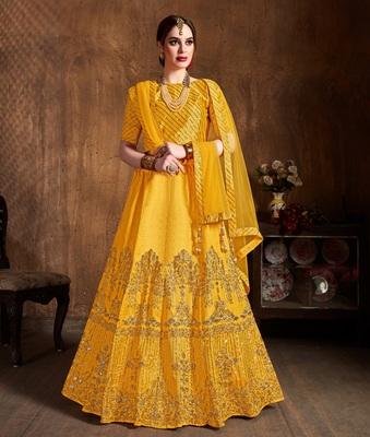 Yellow zari, diamond and sequins embroidered art silk semi stitched lehenga choli with dupatta
