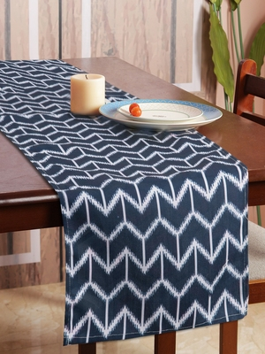 Houzzcode Chevron Printed Blue Table Runner 30cm x 180cm