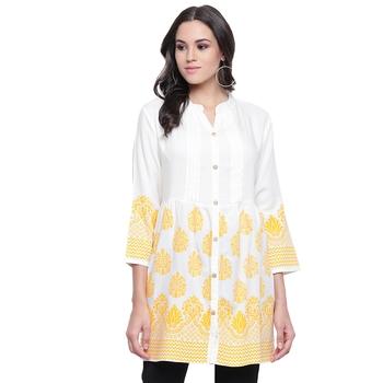 White printed viscose rayon tunics