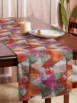 Houzzcode Painted Abstract Triangles Table Runner 30cm x 180cm