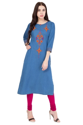 Blue embroidered denim kurtas-and-kurtis