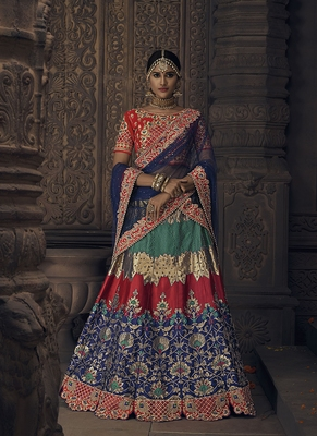 Blue Embroidered Silk Semi Stitched Lehenga
