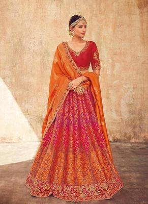 Orange embroidered silk semi stitched lehenga