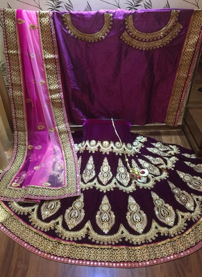 Violet embroidered velvet semi stitched lehenga