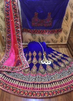 Blue Embroidered Velvet Semi Stitched Lehenga