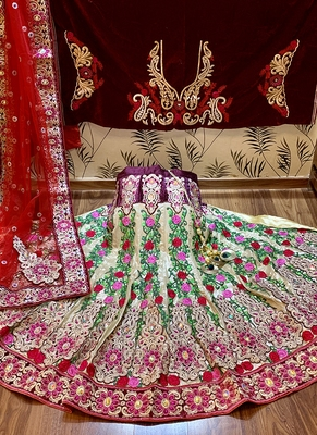 Multicolor embroidered net semi stitched lehenga