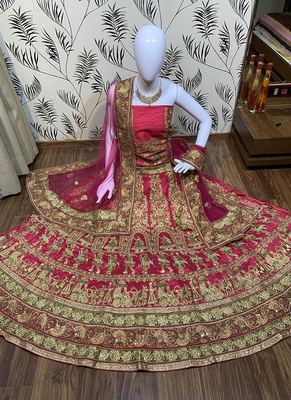 Pink Embroidered Satin Semi Stitched Lehenga