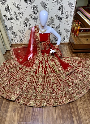 Red embroidered velvet semi stitched lehenga