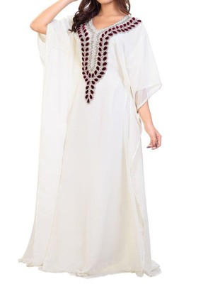 white georgette moroccan kaftan with zari and stone work