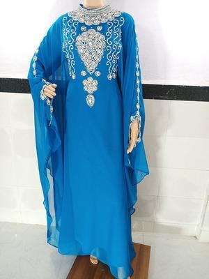 turquoise georgette moroccan kaftan with zari and stone work