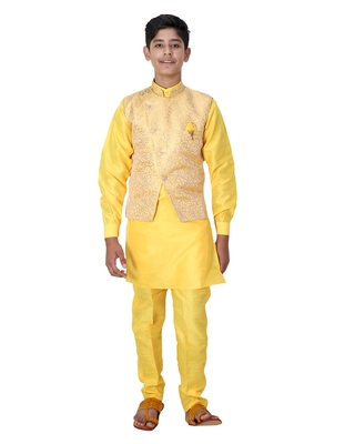 Yellow printed cotton silk boys-kurta-pyjama