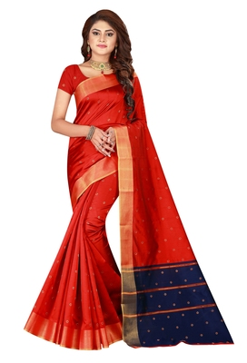 Kimisha Red Cotton Silk Blend Border Work Saree With Running Blouse