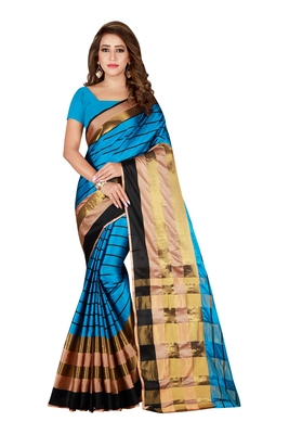 Sky blue woven blended cotton saree with blouse