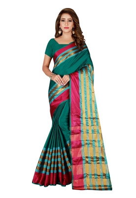 Turquoise woven blended cotton saree with blouse