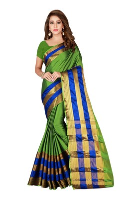 Kimisha Olive Cotton Blend Woven Saree With Running Blouse