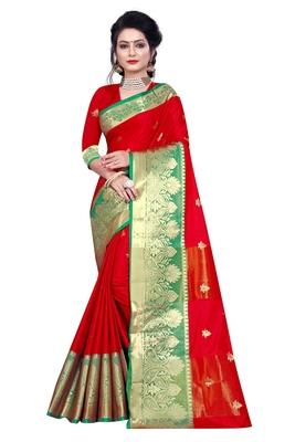Kimisha Red Cotton Silk Jacquard Butta Work Saree With Running Blouse
